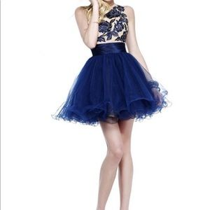 Navy Sweet Sherri Hill Short Cocktail Dress